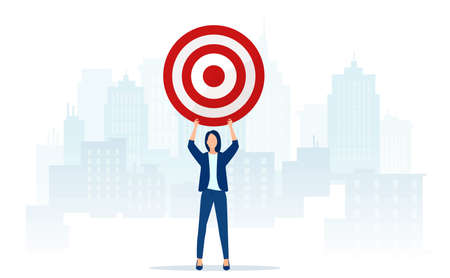Vector of an ambitious business woman holding a target standing on a cityscape background