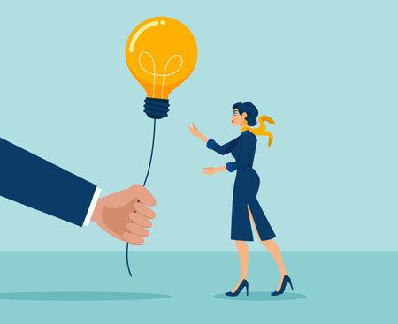 Vector of a big hand giving a lightbulb idea to a young businesswoman Ilustração