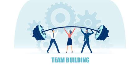 Vector of a business team two men and a woman lifting heavy bar together. Team building concept Ilustração