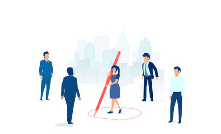 Vector of a businesswoman keeping  distance away from a group of businessmen by drawing a circle around her