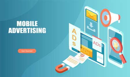 Mobile ads and digital marketing concept Ilustração