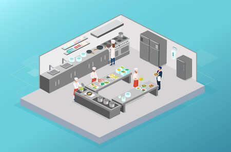 Vector of chefs working, cooking in the kitchen of a restaurant