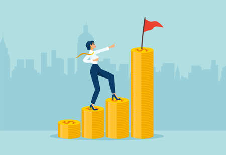 Vector of a businesswoman climbing up coin stacks aiming to achieve financial goal with a flag on the top. Ilustração