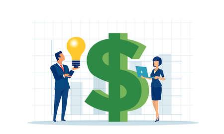 Vector of a businessman and a businesswoman with a new successful business idea Ilustração