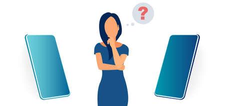 Vector of a young woman is choosing between two smartphones. Ilustração