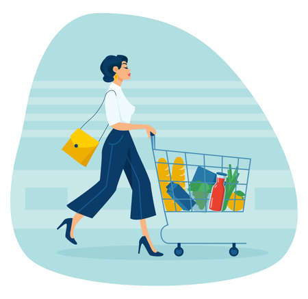 Vector of a young elegant woman pushing supermarket shopping cart full of groceries