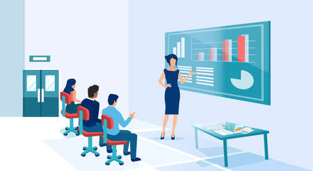 Vector of a businesswoman coach presenting charts and financial reports to employees at a seminar or a conference. Ilustração