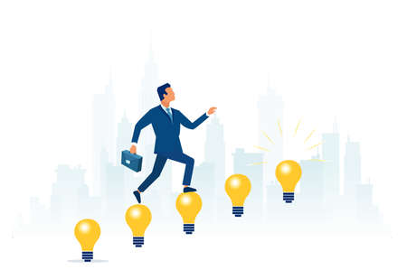 Vector of a businessman climbing up light bulb stairway to success.