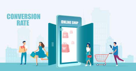 Vector of an increasing customer base people shopping online via smartphone app
