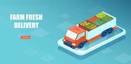 Vector of a truck delivering fresh vegetables via online app