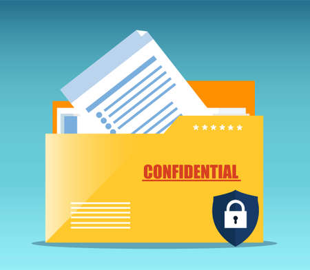 Vector of a yellow folder with confidential documents. Data protection concept