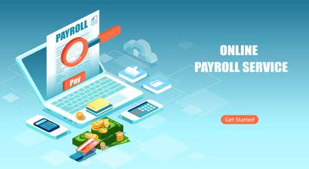 Payroll, salary payment, financial calculator using internet software concept