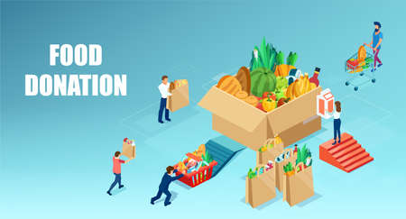 Vector of a group of people donating food to fight hunger