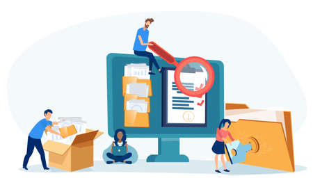 Vector of office employees managing  data base and file archive on computer server searching for documents in database.