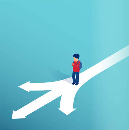 Vector of a little boy standing at crossroads making a decision which way to go in life