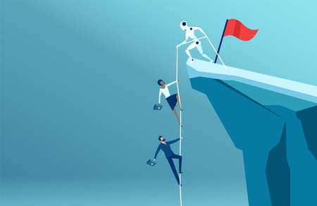 Vector of a robot helping business people to climb to the top of the mountain