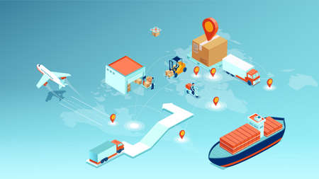 Vector of a cargo delivery, logistics transportation and worldwide shipping concept
