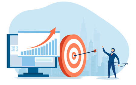 Vector of a businessman hitting his goal in online sales
