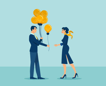 Vector of a man sharing an idea with a businesswoman, giving her a balloon idea light bulb