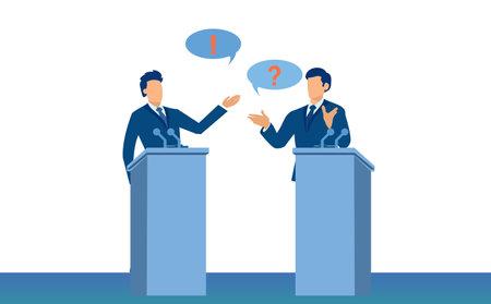 Vector of two political leaders, two men debating 矢量图像