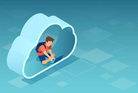 Vector of a teenager boy sitting in a CLOUD technology using laptop computer
