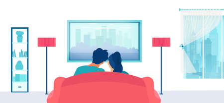Vector of a young couple sitting on the couch and watching tv in their apartment 矢量图像