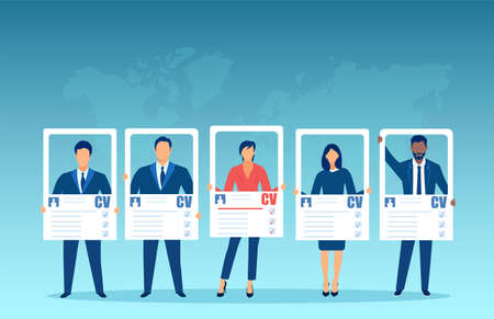 Vector of a group of business people holding CV applying for a job opening
