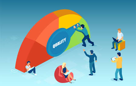 Vector of a group of people company employees improving service quality