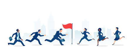 Vector of a group of businessmen and businesswomen running towards the career goal, competing 矢量图像