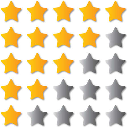 Stars icons set illustration. Assorted symbols. Golden yellow stars. Good for ranking and design.