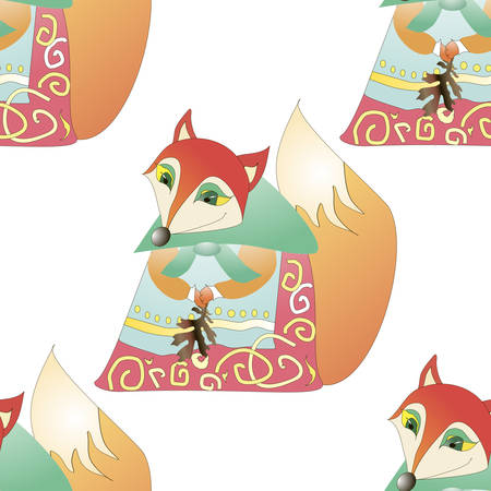 Seamless background.Vector pattern with cartoon fairy fox. Banque d'images - 119956079
