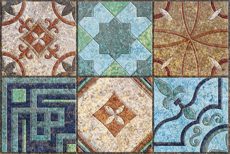 Vintage tiles intricate details for a decorative look.Ceramic paint floor, ornament Collection Patchwork