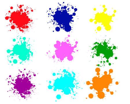 Grunge splatters. Abstract background. Grunge text banners. Color ink splashes. Foto de archivo - 134224322