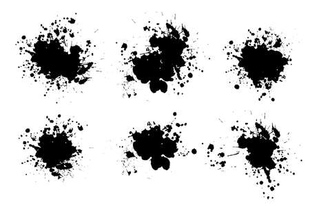 Grunge splatters. Abstract background. Grunge text banners. Color ink splashes. Foto de archivo - 134224338