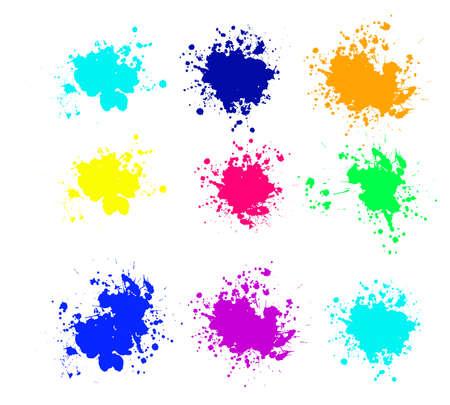 Grunge splatters. Abstract background. Grunge text banners. Color ink splashes. Foto de archivo - 134224350
