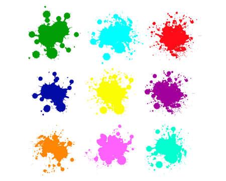 Grunge splatters. Abstract background. Grunge text banners. Color ink splashes. Foto de archivo - 134224356