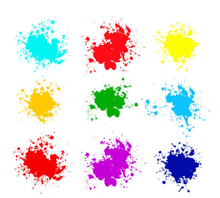 Grunge splatters. Abstract background. Grunge text banners. Color ink splashes. Foto de archivo - 134224364