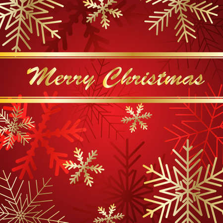 Vector Christmas card. Golden lettering on snow Illusztráció