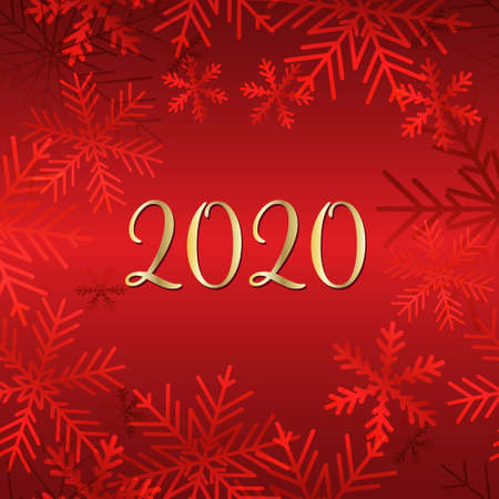 Golden 2020 New Year logo on snow background. Holiday greeting card. Vector illustration. Holiday design for greeting card, invitation, calendar, etc.