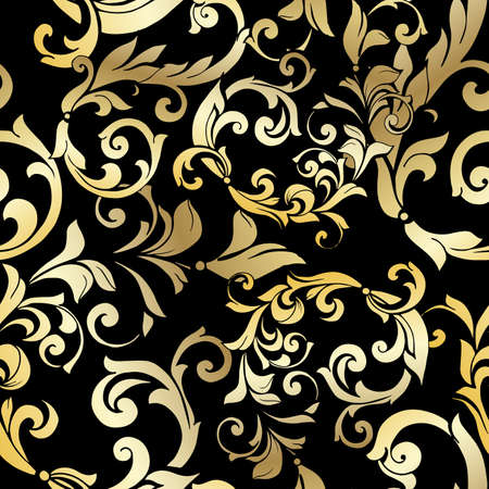 Vector hand-painted vintage baroque ornament. Retro pattern antique style acanthus. Seamless pattern