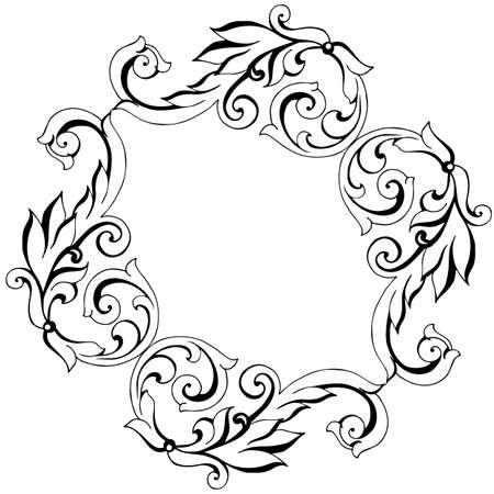 Ornement baroque vintage peint à la main de vecteur. Acanthe de style ancien motif rétro