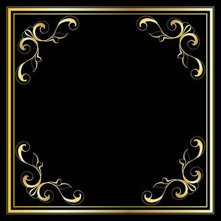 Modèle de conception à la mode vectorielle pour invitation de mariage ou d'anniversaire, brochure, affiche ou carte de visite. Motif doré géométrique. Cadre doré rétro vintage de style Art déco.