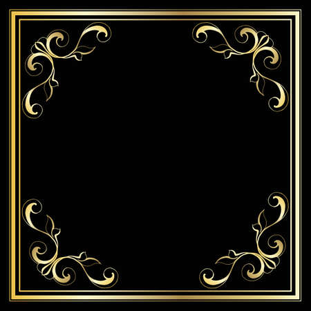 Vector trendy design template for wedding or birthday invitation, brochure, poster or business card. Geometric gold pattern.Vintage retro golden frame in Art Deco style.