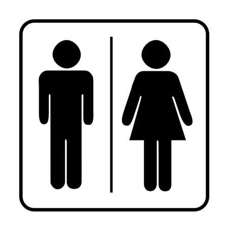 Toilette Icon Unisex. Icone di vettore uomo donna. Icona del segno di WC. Simbolo della toilette Vettoriali