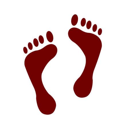 Print of human foot isolated on white Ilustração
