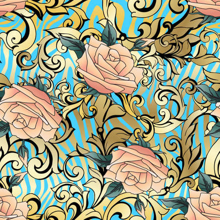 Yellow  roses with gold vintage ancient acanthus. Seamless pattern