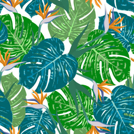 Tropical leaves of Monstera with bird of paradise flowers vector illustration.  Tropic summer print. Seamless pattern