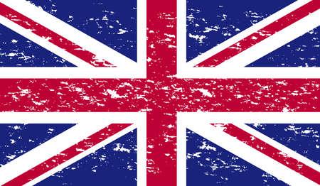 Bandera del Reino Unido de grunge Bandera británica del vector. Bandera del Reino Unido en grunge style.Vector bandera de grunge Union Jack. Ilustración de vector