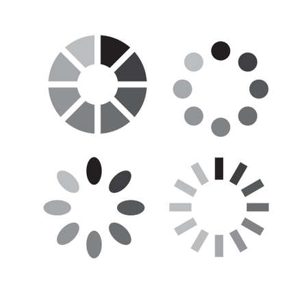 Vector set of web loading icons isolated