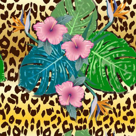 Tropical summer seamless pattern. Animal background. Vector illustration